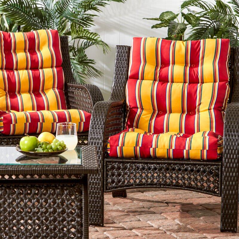 Henrich High Back Indoor/Outdoor Striped Lounge Chair Cushion Set