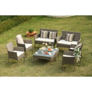 Auclair Wicker Patio 8 Piece Rattan Conversation Set with Cushions