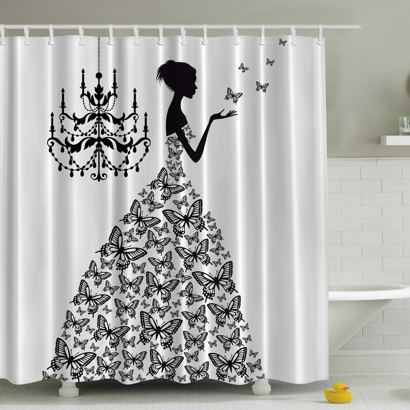 Viv + Rae Rowena Madame Butterfly Print Shower Curtain
