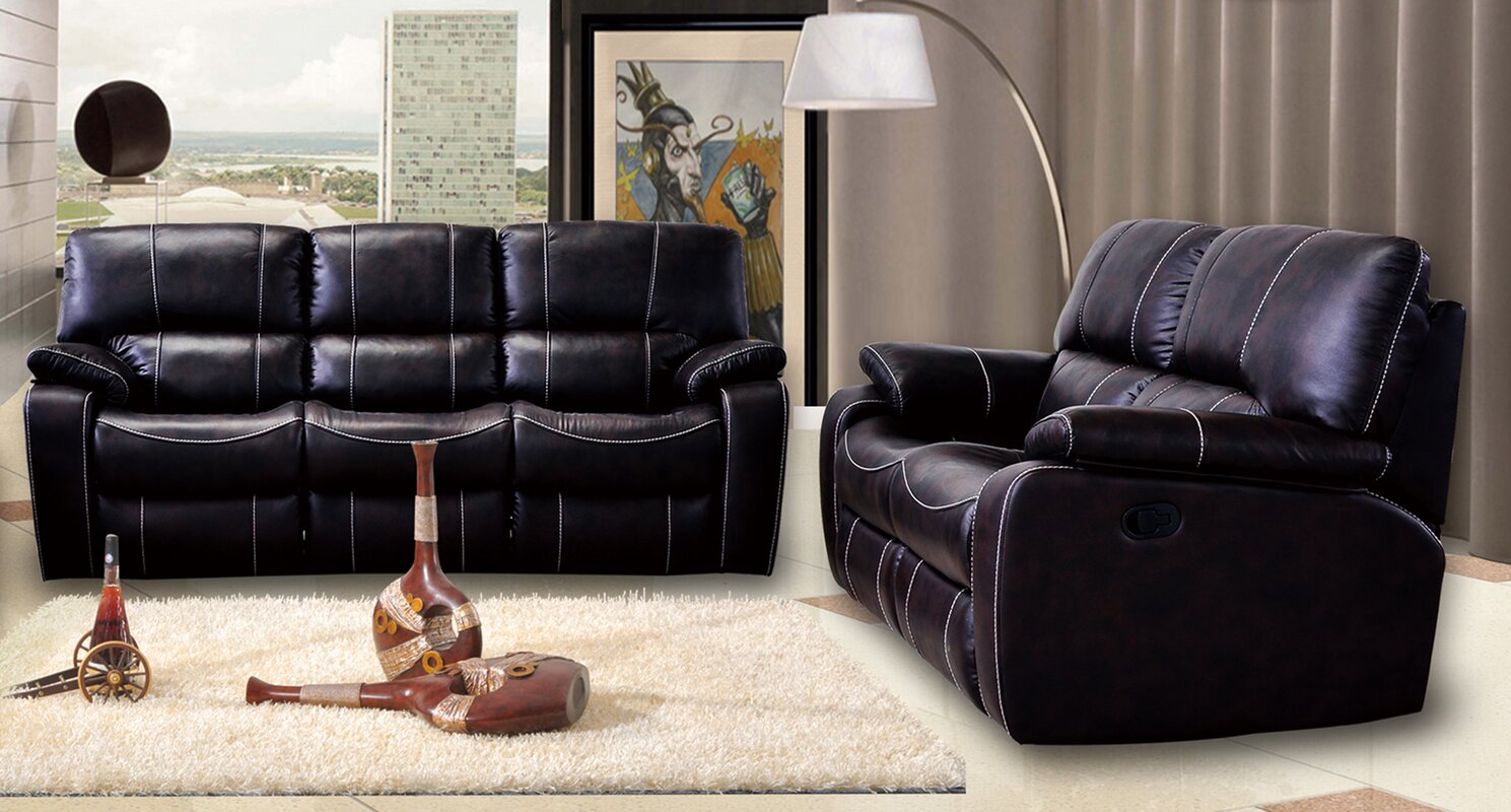 Living in style orleans 2 piece leather living room set reviews 2 piece leather living room set