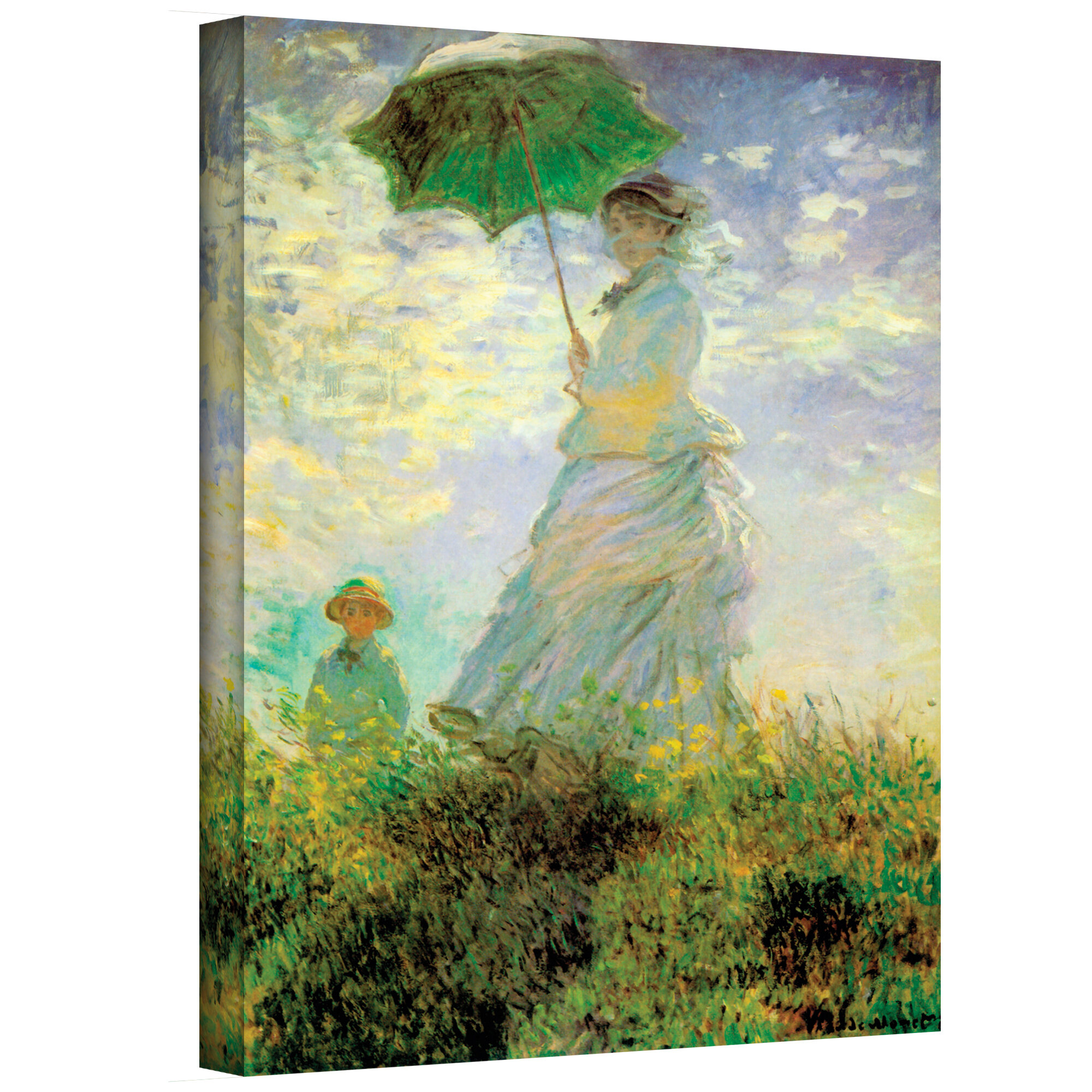 Lady With Umbrella In Field By Claude Monet Painting Print On Canvas