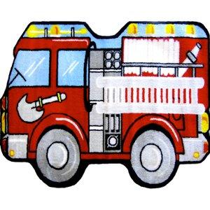 Fun Shape Medium Pile Fire Truck Area Rug