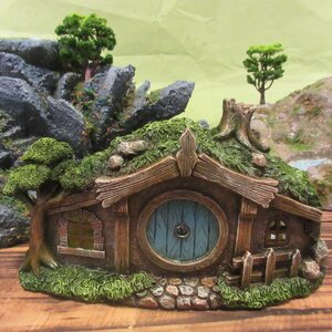 Fairy Garden House with Round Door and Fence Statue