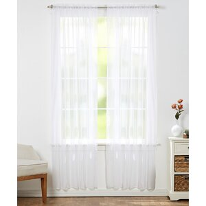 Aman Solid Sheer Rod Pocket Curtain Panels (Set of 4)
