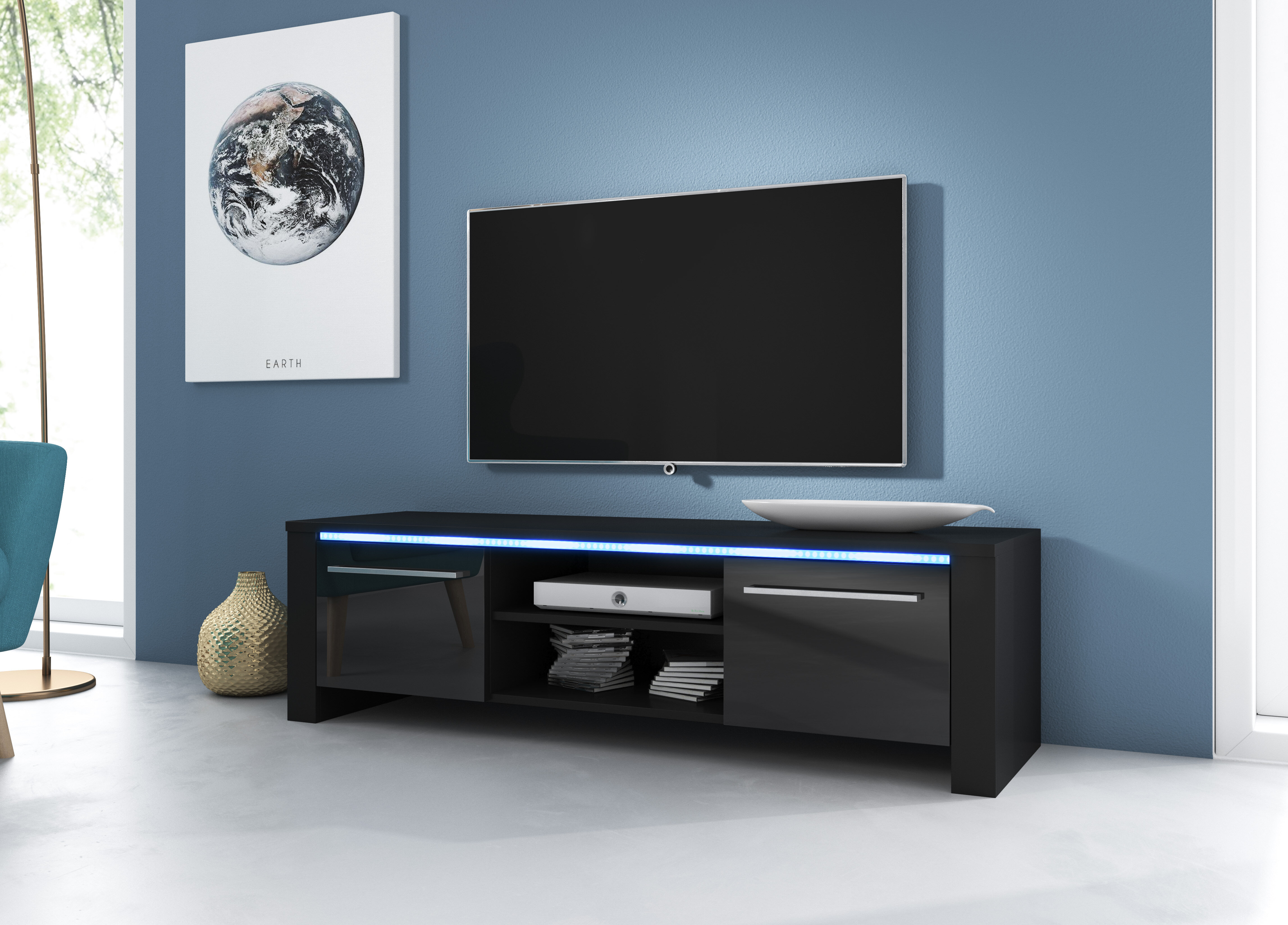Metro Lane Battle Tv Stand For Tvs Up To 55 With Led Lighting Reviews Wayfair Co Uk