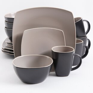Kendell 16 Piece Dinnerware Set Service for 4 & Square Dinnerware Sets You\u0027ll Love | Wayfair