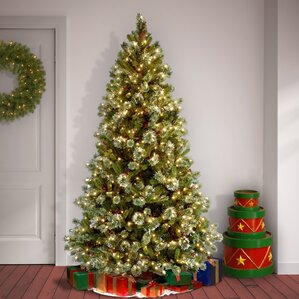 pine prelit 7u0027 pine artificial christmas tree with 650 clear lights and stand - Prelit Christmas Trees