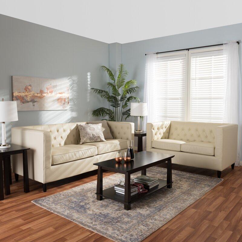 Kharbanda Leather 2 Piece Living Room Set & Reviews | Joss & Main