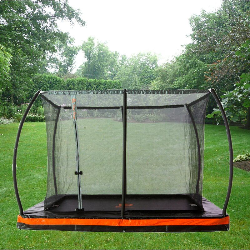 Rectangular Trampolines Offer The Safest Most Stable Bounce: JumpPower In-Ground 10' Rectangular Trampoline With Safety