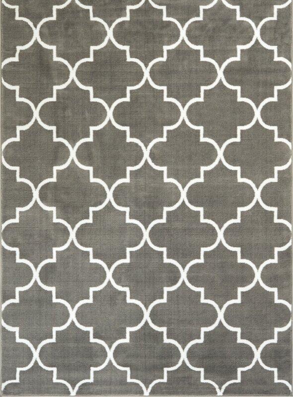 Ruark Modern Grey Geometric Trellis Area Rugs