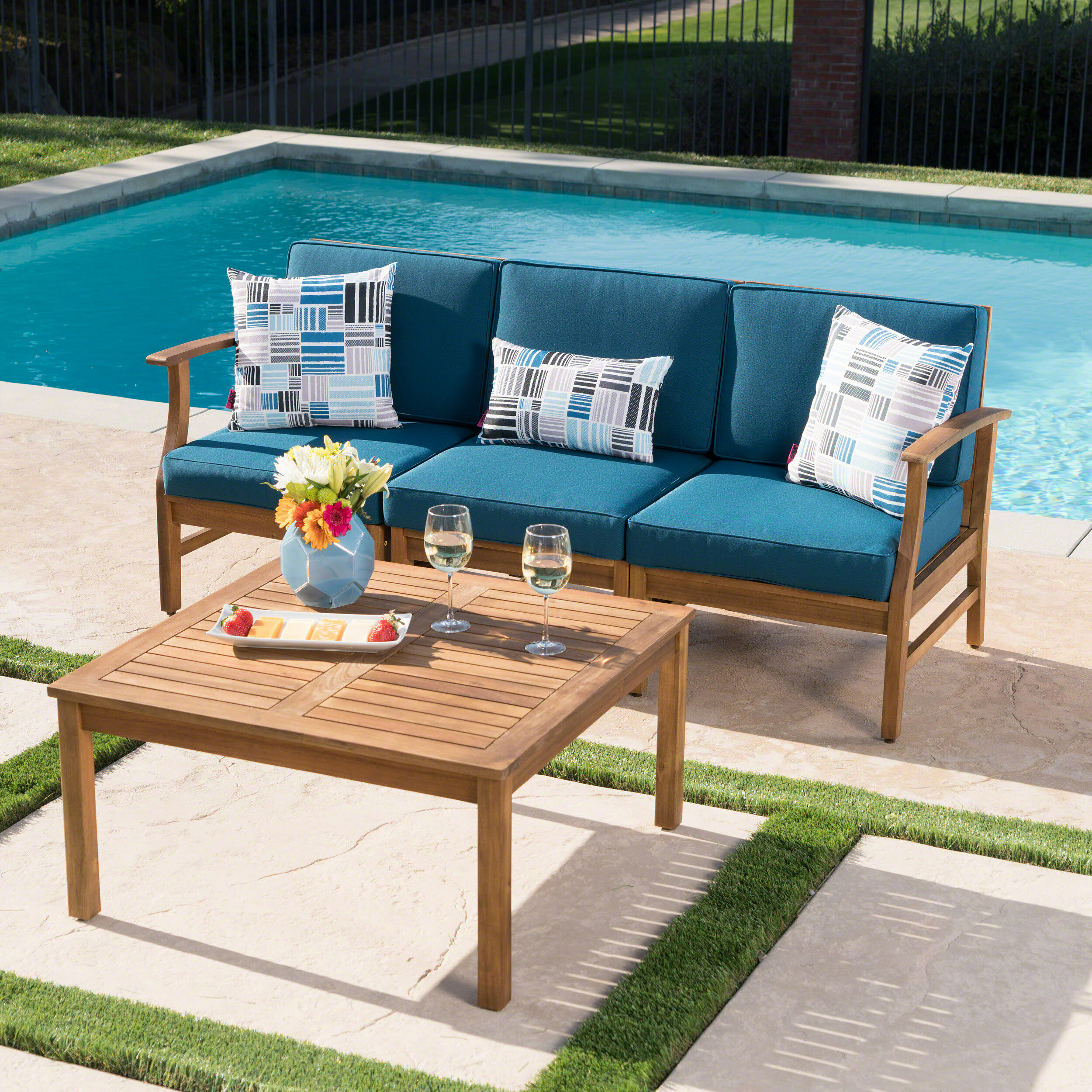 Antonia Outdoor 2 Piece Sofa Set with Cushions