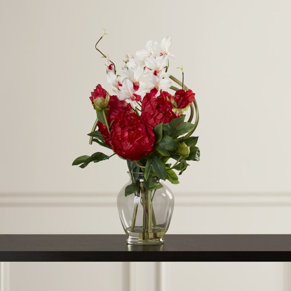 Alcott hill peony and orchid silk flower arrangement in vase alcott hill peony and orchid silk flower arrangement in vase reviews wayfair mightylinksfo