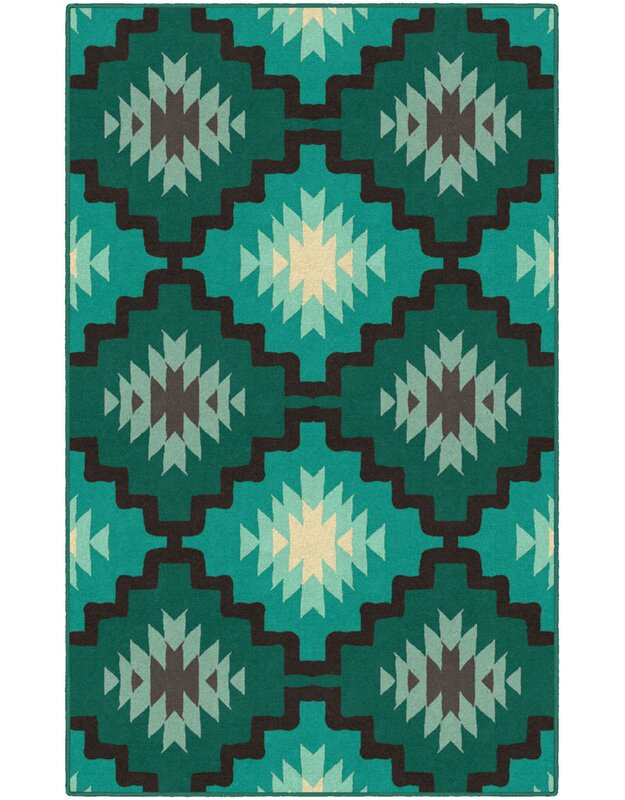 Union Rustic Hutson Green/Blue Area Rug, Size: Rectangle 76 x 10