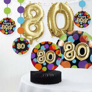 Balloon 80th Birthday Decorations Kit Set Of 7