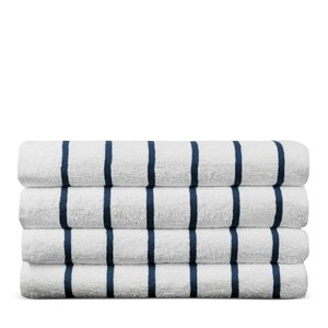 Wellston Turkish Natural Cotton Pool Striped Beach Towel (Set of 4)