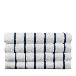 Wellston Turkish Natural Cotton Pool Striped Beach Towel (Set of 4)