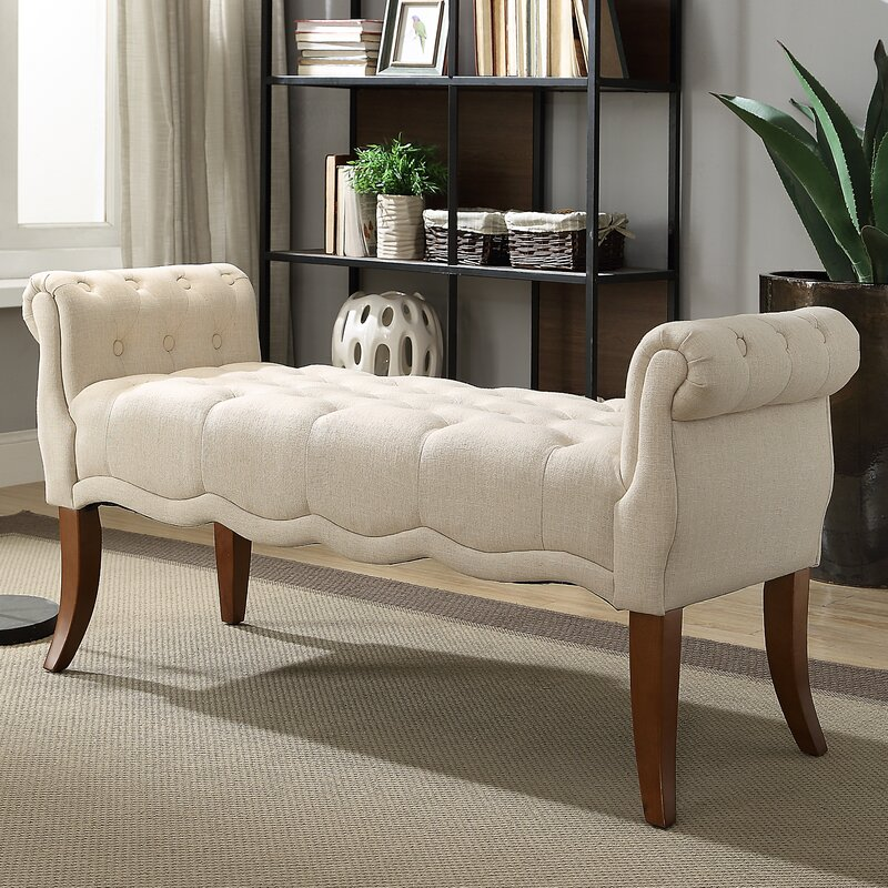 Ophelia Amp Co Campbell Roll Arm Upholstered Bench