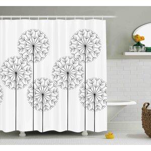 Kass Modern Hand Drawn Digital Flower Dandelions Botanic Plants Nature Artwork Print Shower Curtain