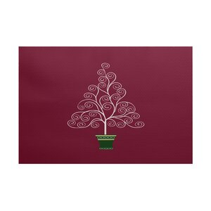 Filigree Tree Burgundy Indoor/Outdoor Area Rug