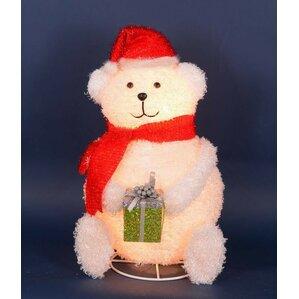 Lighted 3 D Chenille Polar Bear With Present Outdoor Christmas Decoration