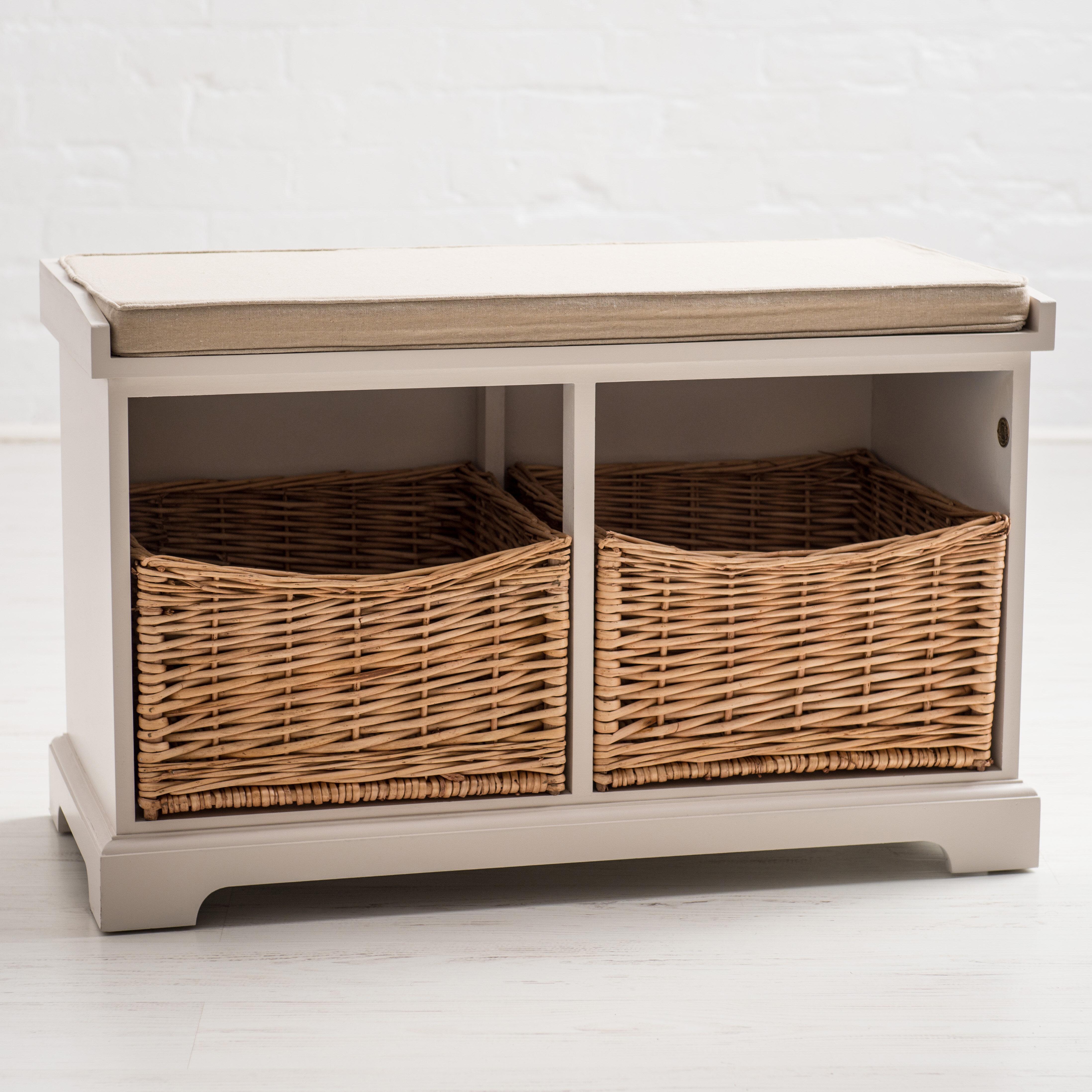 Brambly Cottage Lynton 2 Basket Storage Bench U0026 Reviews   Wayfair.co.uk