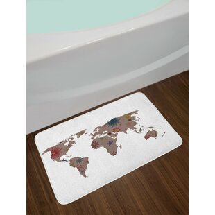 World map rug wayfair vintage multicolor floral world map bath rug gumiabroncs Gallery