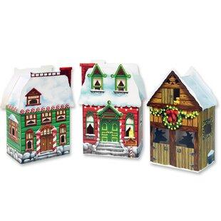 3 piece christmas village favor box set