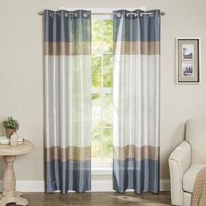 Homewood Striped Semi-Sheer Grommet Curtain Panels (Set of 2)