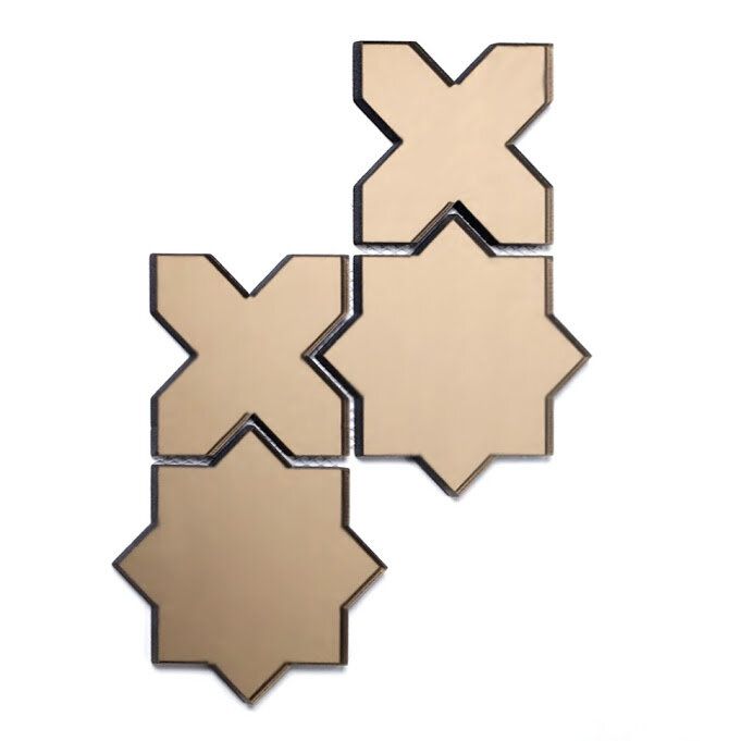 5838ba602a99 Abolos Reflections Star Beveled Waterjet 6 in. x 6 in. Mirror Glass Handmade  Backsplash Bathroom Mosaic Wall Tile