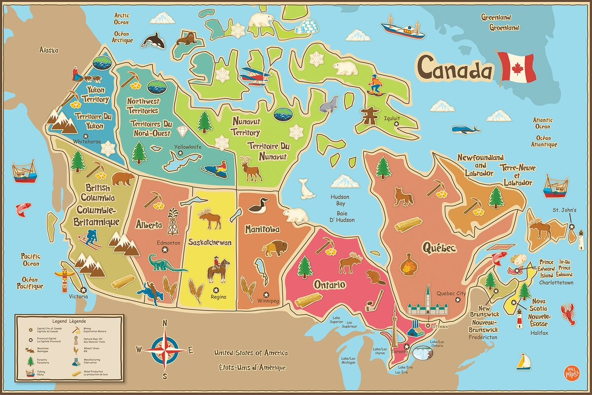 WallPops WallPops Kids Canada Map Wall Mural Reviews Wayfair - Map pictures for kids