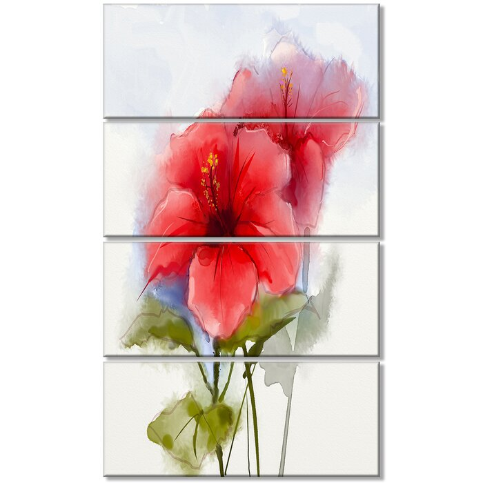 Designart Watercolor Painting Red Hibiscus Flower 4 Piece Painting