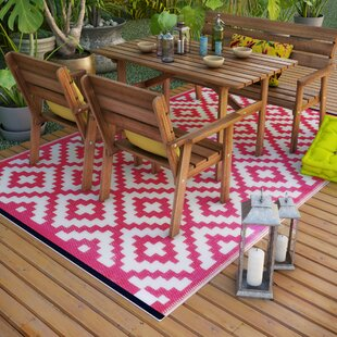 Kenji Pink Outdoor Area Rug by Riley Ave.
