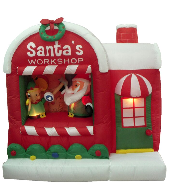 Three posts christmas inflatable santa workshop decoration for Cat outdoor christmas decorations