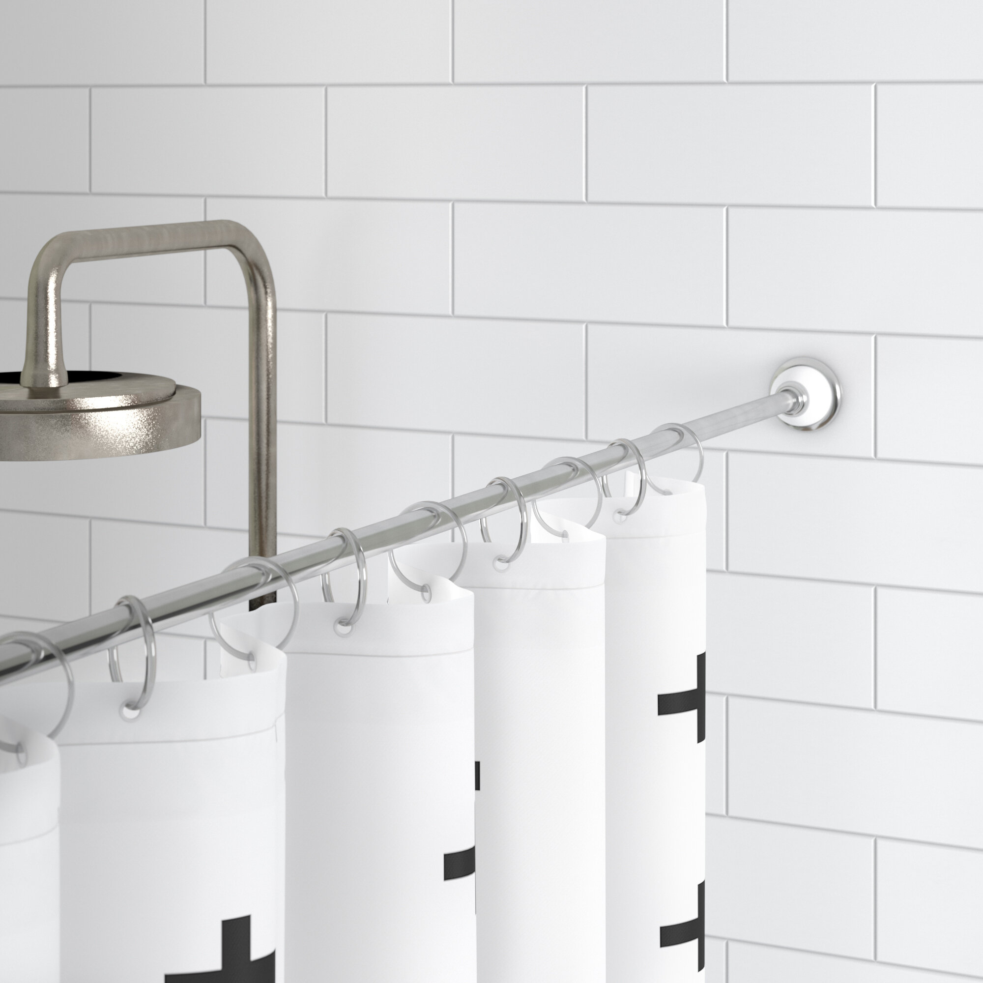 Rebrilliant Duff 87 Adjustable Straight Tension Shower Curtain Rod Reviews