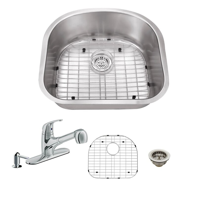 16 Gauge Stainless Steel 23 25 X 20 88 Undermount Kitchen Sink With Low Profile Pull