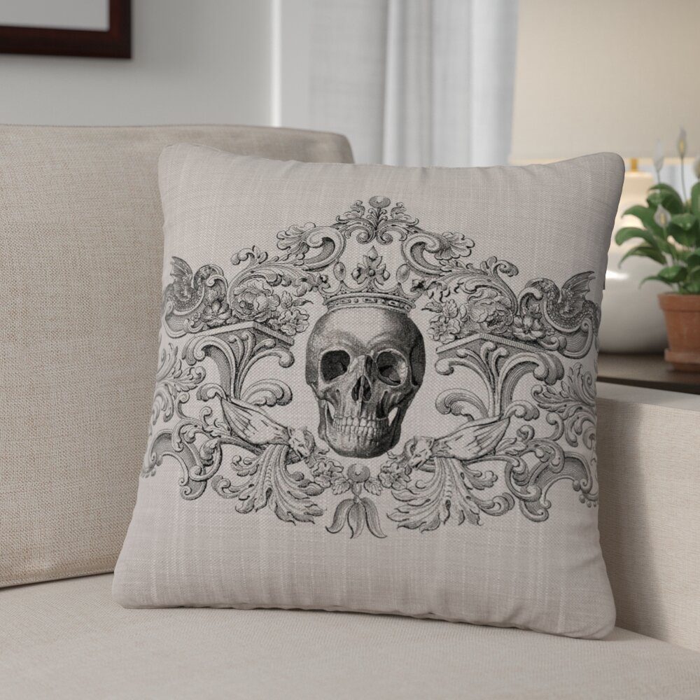 The Holiday Aisle Gothic Skull Pillow Cover | Wayfair