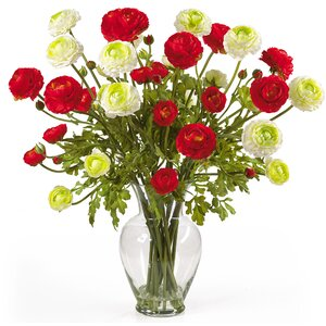 Liquid Illusion Silk Ranunculus Arrangement in Red and White