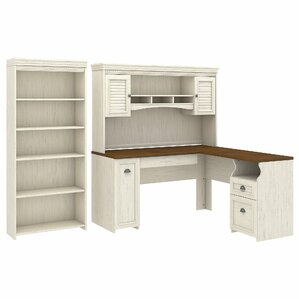 Jordan L Shaped Executive Desk With Hutch And 5 Shelf Bookcase