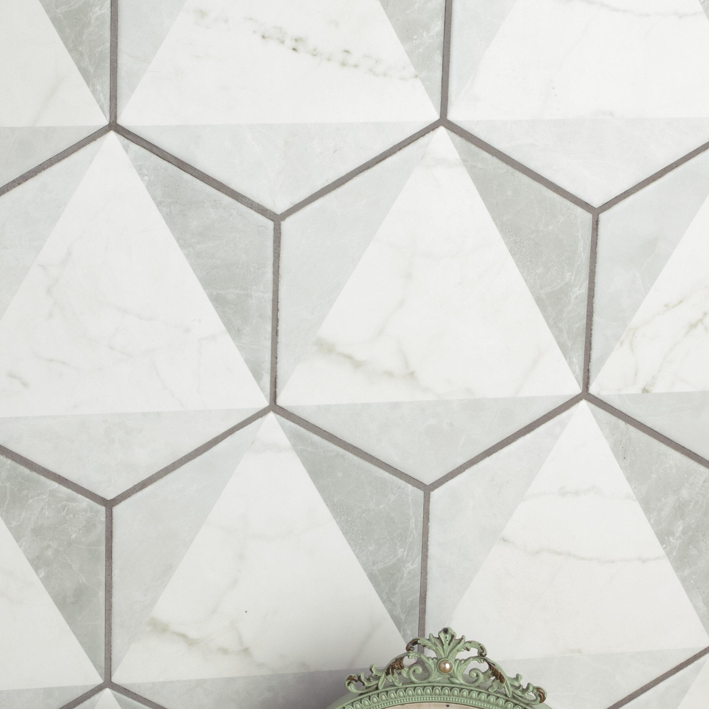 Elitetile karra 7 x 8 porcelain field tile in white gray reviews wayfair