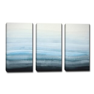 f203c969363  Coastal Mist  3 Piece Framed Painting Print on Canvas in Blue Gray Black