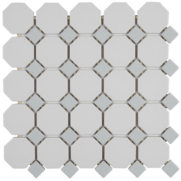 "Daltile Octagon And Dot 2"" X 2"" Ceramic Mosaic Tile In"