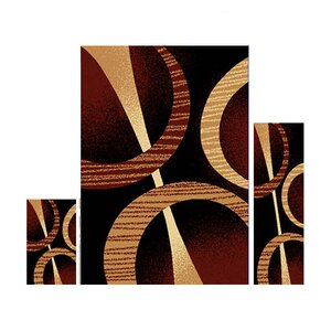 Cedric 3 Piece Ebony Area Rug Set
