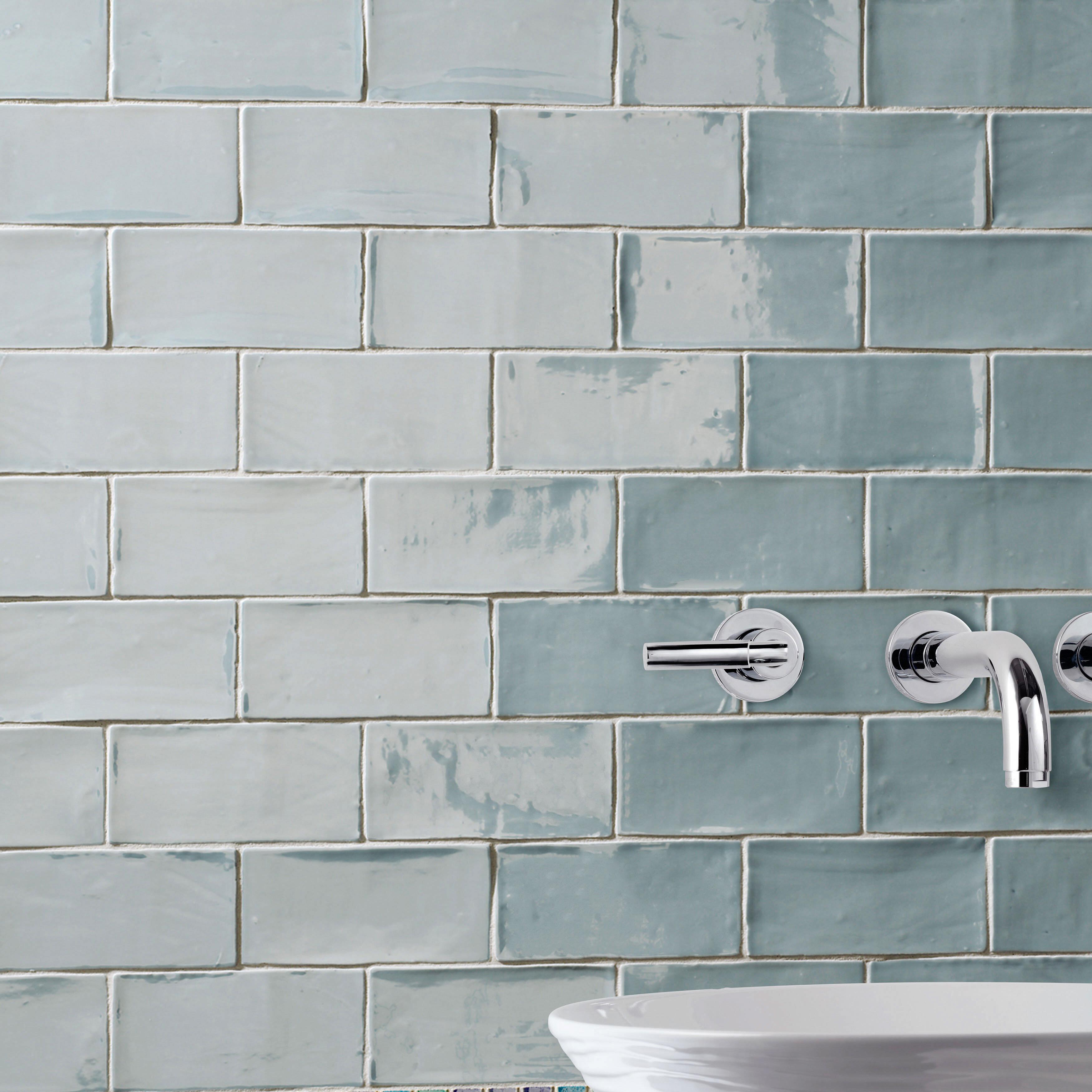 Elitetile Tivoli 3 X 6 Ceramic Subway Tile In Aqua Blue Reviews Wayfair