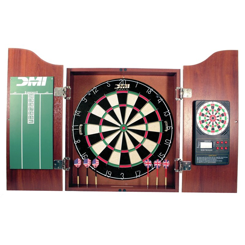 DMI 5 Piece Dartboard Cabinet Set with Electronic Scorer & Reviews ...