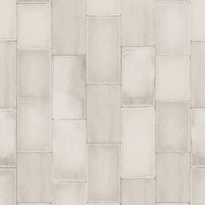 33 X 208 Faux Stitched Leather Patchwork Tiles Wallpaper