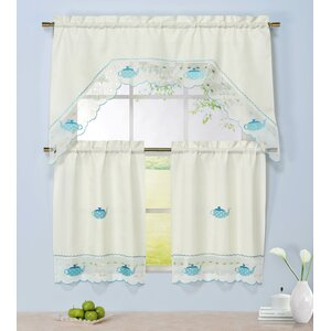 Tea Party 3 Piece Embroidered Kitchen Valance and Tier Set
