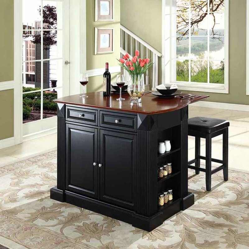Nora Traditional Kitchen Island With Cherry Top