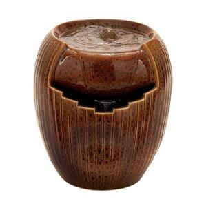 Ceramic Asian Influenced Ribbed Garden Fountain