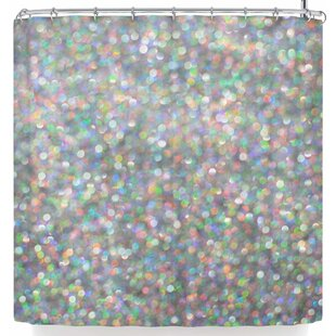Susan Sanders Rainbow Silver Glitter Shower Curtain