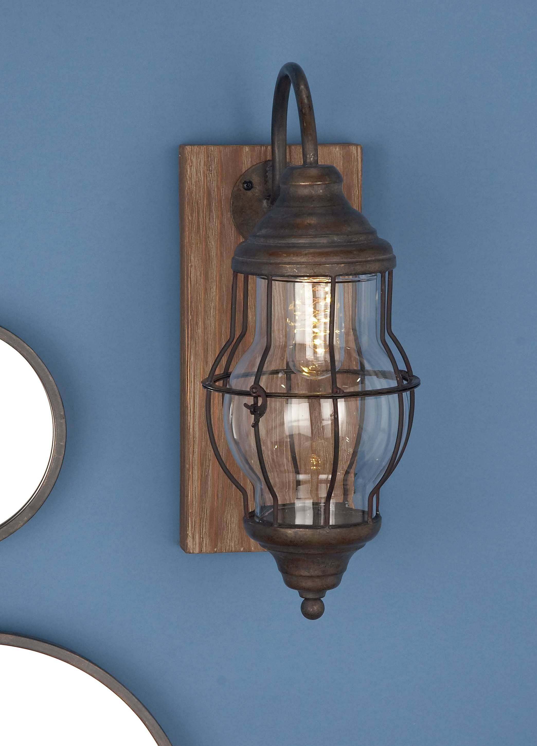 Cole & Grey Wood/Metal Glass 1-Light LED Battery Operated Armed ...